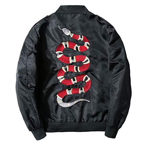 Chartou Men's Classic Snake-Embroidery Lightweight Flight Baseball Jacket Windbreaker (Small, Black)