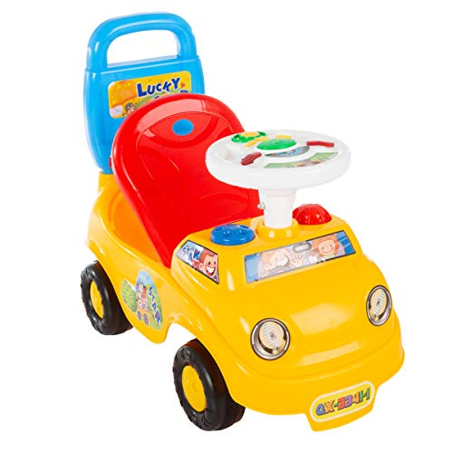 41bs7XhWO5L - Lil' Rider Ride On Activity Car- Toy Rideon Push Walking Car with Steering Wheel, Lights, Sounds, Music for Babies, Toddlers Learning to Walk