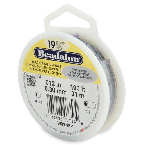 Beadalon 19-Strand Bead Stringing Wire, 0.012-Inch, Satin Silver, ()