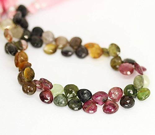 Beads Bazar Natural Beautiful jewellery Multi Watermelon Tourmaline Faceted Briolette Heart Drop Gemstone Loose Craft Beads 8