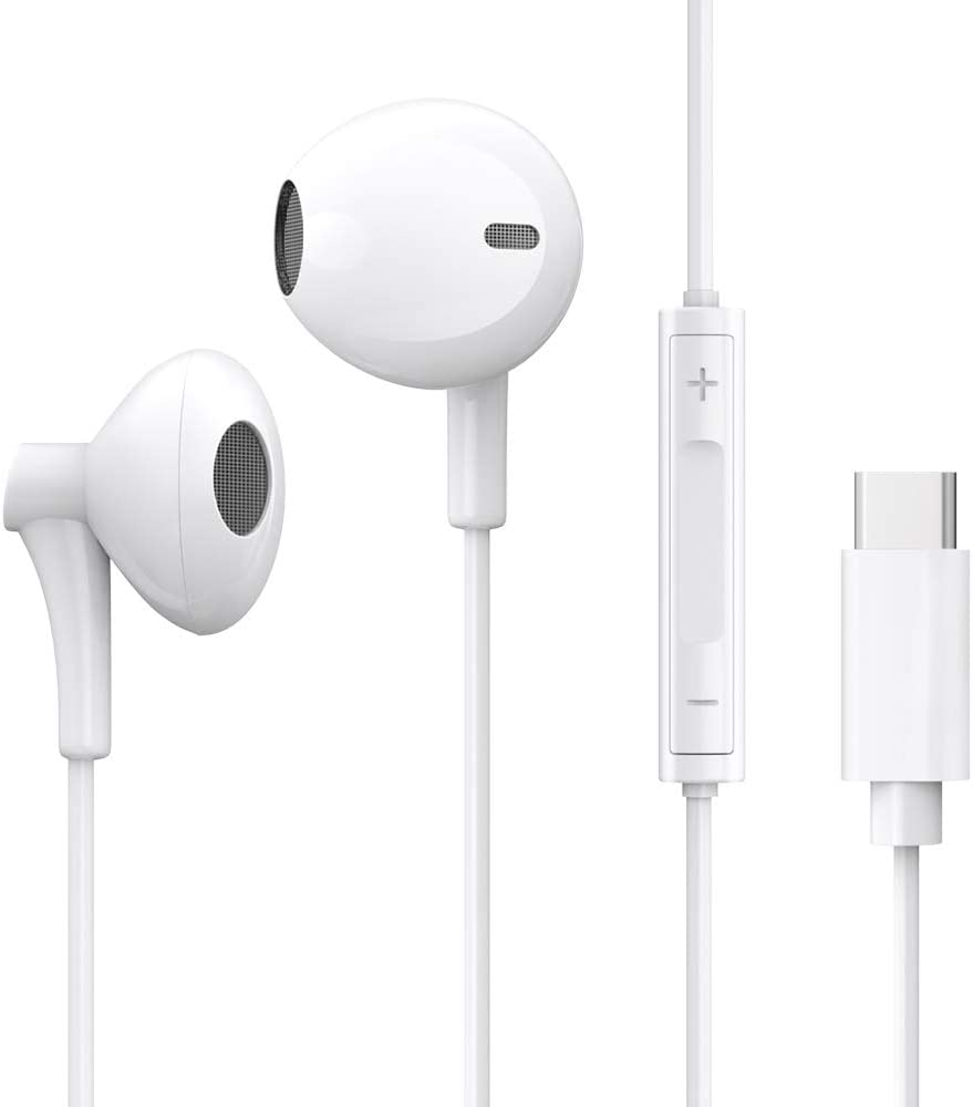 Fukep USB C Earphones, USB C Earbuds Google with Microphone for Google Pixel 2 3 XL, Huawei Mate 10 P20 Pro, HTC U11 12, Essential 1.2m, White White