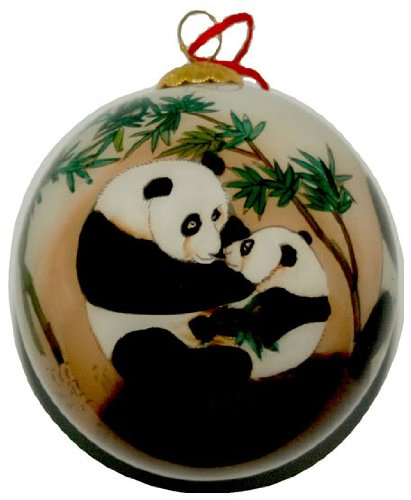 - Hand Painted Glass Ornament, Panda Play CO-174