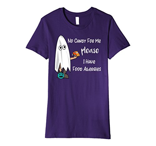 Womens Premium No Candy For Me Food Allergy Trick or Treat Shirt Large Purple (Peanut Allergy Safe Halloween Candy)