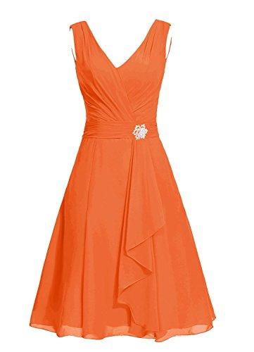 Anlin Des Femmes De V-cou Robe De Bal Courte Robe De Demoiselle D'honneur Junior Retour À La Maison En Mousseline De Soie Orange, An57
