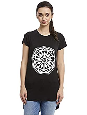 Afterlife Black Round Neck T-Shirt For Women