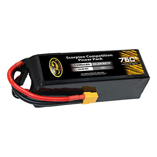 Cell Scorpion 6 - Scorpion Power 1300mAh 75c 22.2v 6 Cell LiPo Battery with XT60 for RC Car Boat Truck Airplane Helicopter Drone - Battery Pack