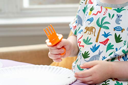 eZtotZ | Small Hands First Self Feeding Baby and Infant Utensils | Mini Spoon and Fork Training Set for BLW | Anti-Choke Toddler Silverware | 6-12 Month + | BPA Free (Orange)