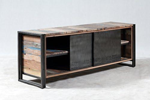 Mueble TV 2PORTES correderas 160 x 45 x 60 Estilo Industrial de Madera de Barco Reciclado.: Amazon.es: Electrónica
