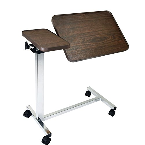 Vaunn Medical Adjustable Tilt Overbed Bedside Table with Wheels for Hospital and Home Use