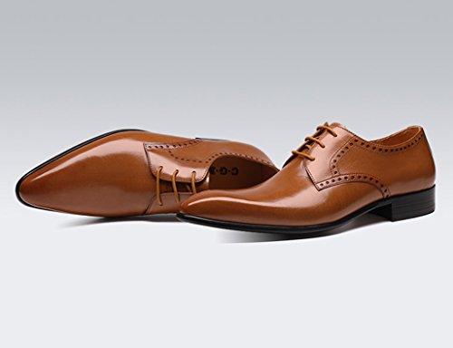 HWF Scarpe Uomo in Pelle Scarpe da uomo in pelle Abbigliamento formale Business Scarpe in pizzo stile inglese con cuciture traspiranti (Colore : Yellow-brown, dimensioni : EU44/UK8.5) Yellow-brown