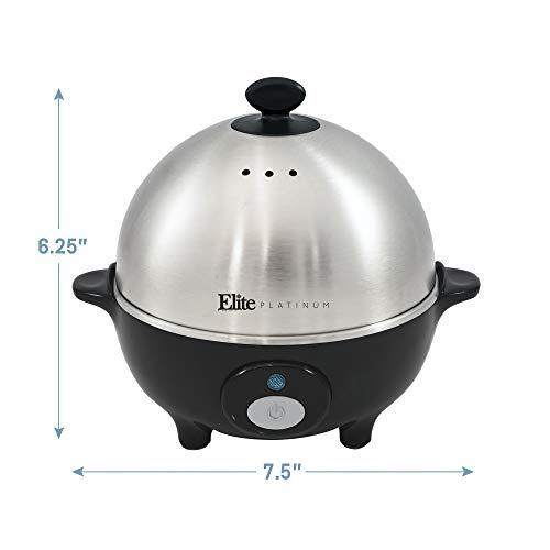 Elite EGC-508 Egg Poacher, Medium, Egg Cooker with Auto-Off, Stainless Steel Tray, 7 Egg Capacity,