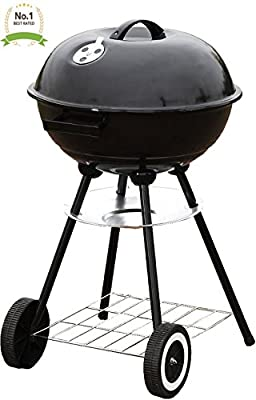 "#1 Portable 18"" Charcoal Grill Outdoor Original BBQ Grill Backyard Cooking Stainless Steel 18"" diameter cooking space cook steaks, burgers, Backyard & Tailgate and more! by Unique Imports"