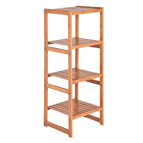 Ktyssp Bamboo Bathroom Shelf Stand 4-Tier Multifunctional Storage Rack Shelving (Yellow)