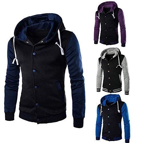 White Sleeve Outerwear Retro Button Hooded Jacket Sweatshirt Hoodie Men Slim HARRYSTORE Long Hooded qC87C