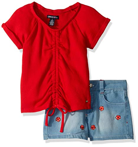 - Limited Too Girls' Big 2 Piece Rib Knit Fashion Top and Denim Short Set, Hibiscuss Neon Red, 10