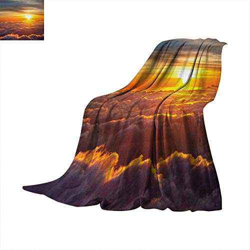Anhuthree Clouds Super Soft Lightweight Blanket Sunset Scenery Over The Clouds Imaginary Secret Weather Lands Natural Wonders on Earth Summer Quilt Comforter 80