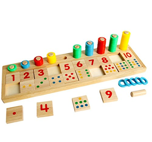 Montessori Rainbow Wooden Math Toy Winzik Rings Dominos Preschool Teaching Aids Counting and Stacking Board for kids Children