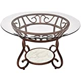 Adeco Glass & Bronze Metal Coffee/ Tea/ Side/ End Table, Classic Design, Red Bronze Color