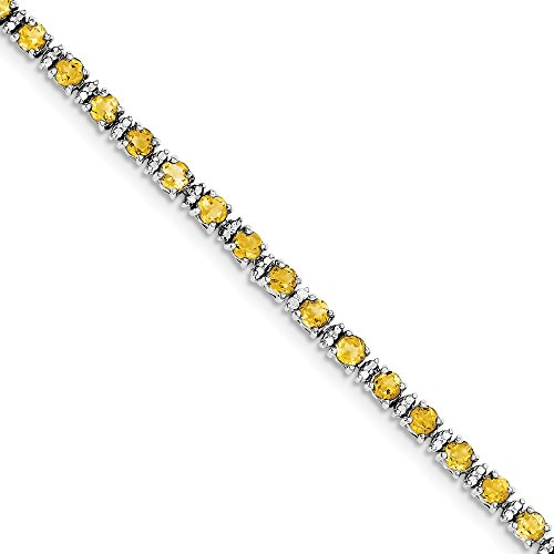 Solid 925 Sterling Silver Golden Yellow Orange Simulated Citrine and Diamond Tennis Bracelet - with Secure Lobster Lock Clasp 7