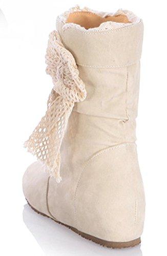 IDIFU Womens Sweet Bow Heighten Wedge Mid Heels Slouch Short Ankle Booties Beige vEUHxsjhK3