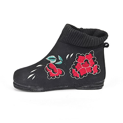 high Boots Low Material Color Ankle On Assorted Women's WeenFashion Heels Black Soft Pull WPwqYxag