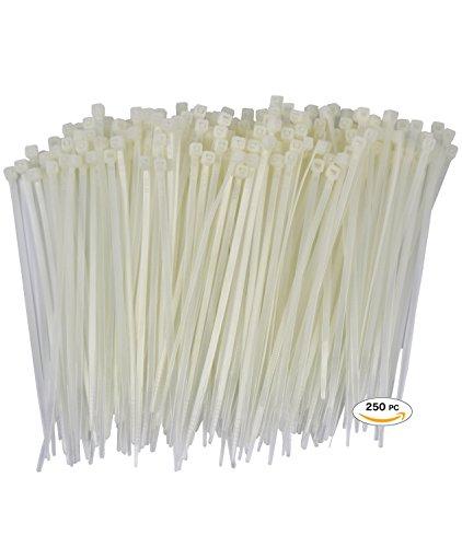 250 Premium Heavy Duty 6 Inch Zip Ties | White Nylon Cable T