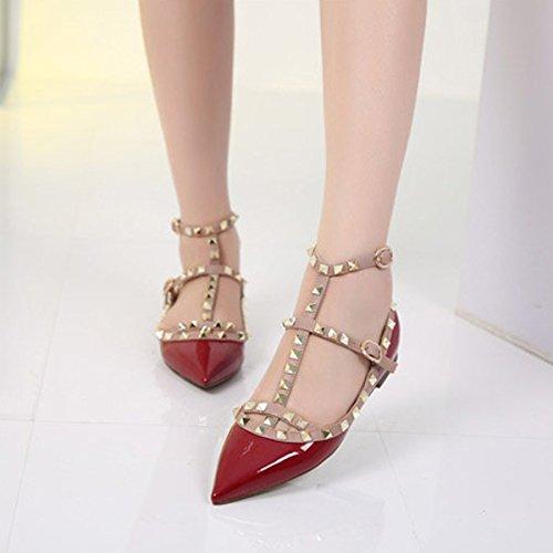 Chris-t Femmes Appartements Rivets Perle Cloutée T-sangle Boucle Chaussures Bourgogne Brevet