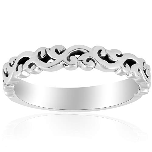 Wedding Band Gold Carved White - 14k White gold Hand Carved Womens Wedding Band Filigree Vintage Stackable Ring - Size 9