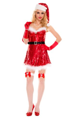 Santas Sexy Envy Womens Adult Costumes (MUSIC LEGS Women's Sexy Miss Santa, Red, Medium/Large)