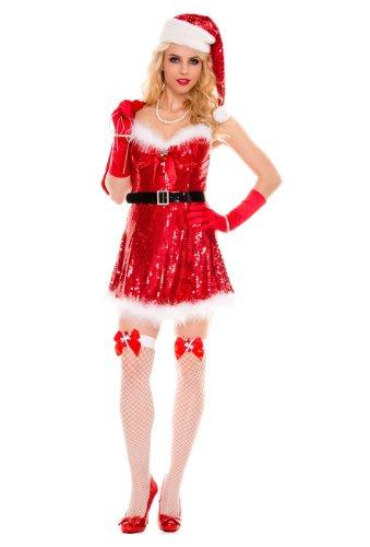 MUSIC LEGS Women's Sexy Miss Santa, Red, Medium/Large