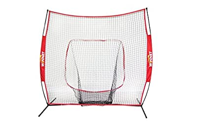 Winnet 7x7 ft Baseball and Softball Net, Practice Hitting Pitching, Equipment Training Aids, Yellow / Black Polyester Knotless Nets
