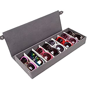 8 Pieces Sunglass Eyewear Display Storage Case Tray Organizer for Glasses, Jewellery and Watches Display wiht High-grade Flannel (Grey)