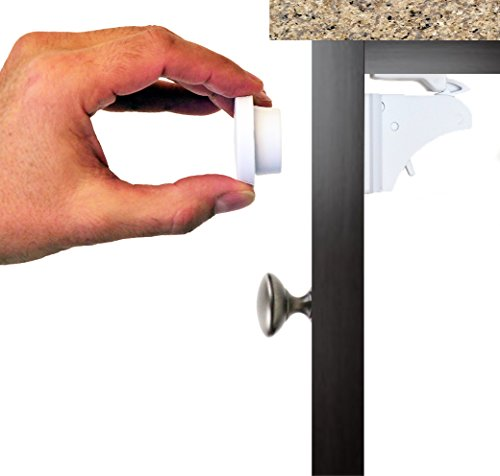 Baby Magnetic Cabinet Child Safety Locks - Baby Proof & Easy to Install - No Tools, Drilling or Screws to Damage your Cabinets, Cupboards, Drawers [4 Locks + 1 Key]