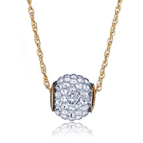 AVORA 10K Yellow Gold Swarovski Elements White Crystal Slide Ball Pendant Necklace with 18