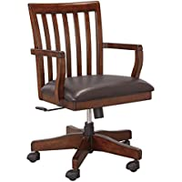 Ashley Furniture Signature Design - Wassner Home Office Swivel Desk Chair - Faux Leather Upholstered Seat - Dark Brown