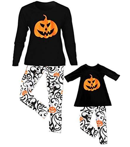 Halloween Family Matching Pumpkin Long Sleeve T Shirt Top and Pants Mom Toddler Kid Boys Girls 2PCS Set (M, Black-Mom)