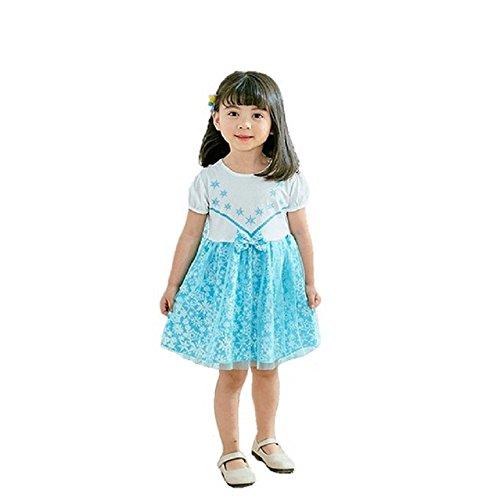 89f0ea6275093 (MISOAMISO) ディズニープリンセス 子供用 ドレス キッズ 半袖 ワンピース アナ エルサ アナ雪 コスチューム
