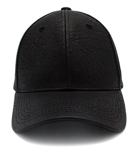 Top Level PU Leather Plain Adjustable Baseball Hats Snapback Closure ... 9028873defc3