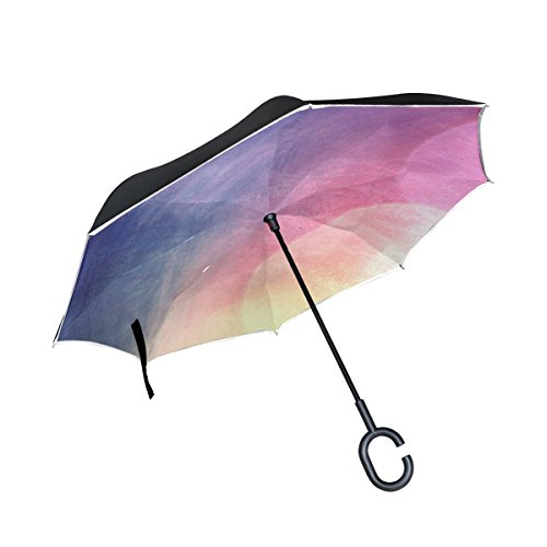 DNOVING Double Layer Inverted Scrapbook Paper Colors Painting Art Umbrellas Reverse Folding Umbrella Windproof Uv Protection Big Straight Umbrella For Car Rain Outdoor With C-shaped (Versace Double Handles Bag)
