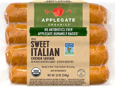 Applegate Sweet Italian Chicken Sausage 12 Oz (4 Pack)