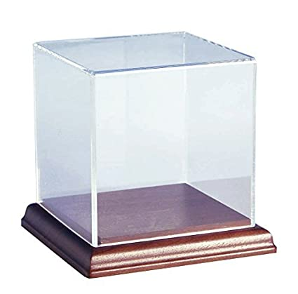 Choice Acrylic Displays Acrylic Box Case with Walnut Base   5 Sided Display  Box   Acrylic Cube 4