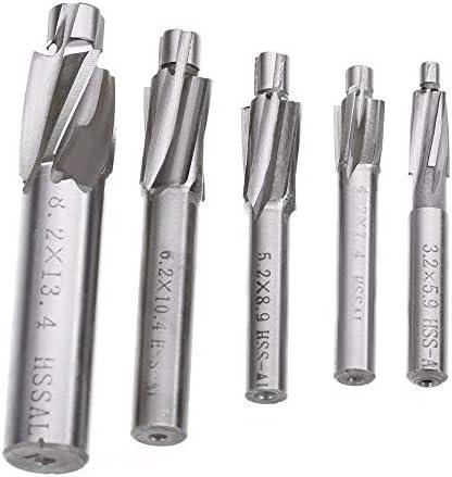 ZHTY 5Pcs/Set 4 Rillen-Senkbohrersätze HSS-Senkfräser M3 M4 M5 M6 M8 Senkbohrer Schaftfräser Schneidwerkzeugsatz für Kupfer-Aluminium-Gusseisen