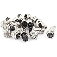 uxcell 10Pairs 16mm Thread Male Female Panel Metal Aviation Wire Connector
