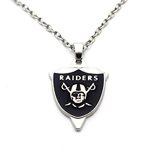 BAS Oakland Raiders Necklace with Triangle Pendant with 20 inch Stainless Steel Chain Necklace ()