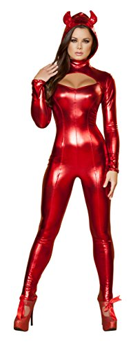 [1 Piece Sexy Red Hot Devil Long Sleeve Jumpsuit Costume] (Hot Halloween Costumes Devil)