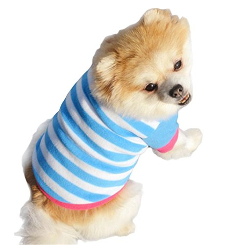 Mikey Store Pet Dog Clothes Soft Thickening Warm Stripe Polar Fleece Winter Clothes (Blue, S) (Fan 1 Pet T-shirt Dog)
