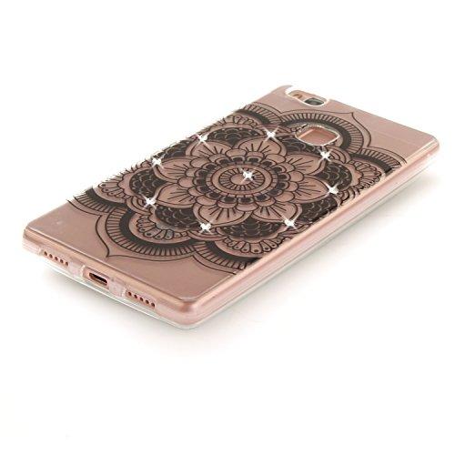 Huawei P9 Lite Hülle Silikon Durchsichtig mit Muster Strass, Lomogo Schutzhülle Stoßfest Kratzfest Handyhülle Case für Huawei P9Lite - TOXI26456 #1 #6