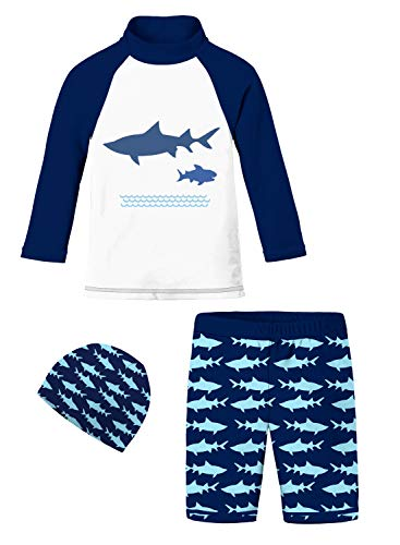 Baby Boys Graphic Swimsuits Jammers Navy White Turquoise Shark Whale School Athletic Marine Themed Long Sleeve Swimwear Set Mesh Lining Trunks Protective Tops Cruise Rash Guard Vest with Elastic Cap ()