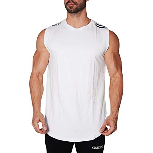 (iHPH7 Tank Top Men Classic Tank Top Men Spring Summer and Autumn Features Round Collar Slim Elastic Vest Pullover L White)