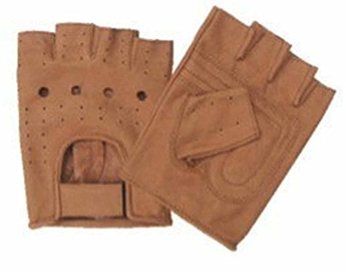 Allstate Leather Brown Leather Fingerless Motorcycle Gloves with Vented Back M Brown